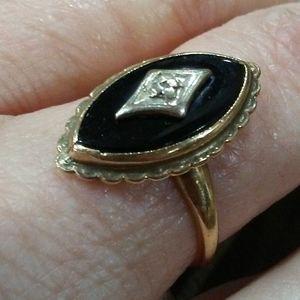 Vintage Onyx & Diamond Ring